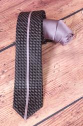 Pánska kravata vzorovaná s pásikom - ružovo-čierna (š. 5,5 cm)