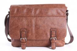 Pánska športová taška cez plece 11976 (33x27x11 cm) - hnedá