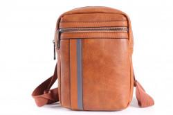 Pánska športová taška cez plece JX1028 (15x22x6 cm) - hnedá