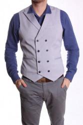 Pánska vesta s golierom MODEL 5020 - modro-sivá