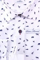 Pánska vzorovaná košeľa PIETRO MONTI CLASSIC - biela #1