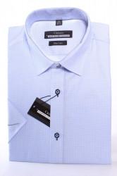 Pánska vzorovaná košeľa s krátkym rukávom MARTEX SLIM LINE - bledomodrá