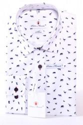 Pánska vzorovaná košeľa SLIM - biela PIETRO MONTI