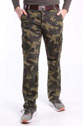 Pánske ARMY maskáčové nohavice s opaskom LOSHAN (8103-61) - ARMY GREEN Vzor 95 zelené