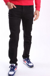 Pánske elastické mierne zateplené rifľové nohavice  M.SARA (KB2155) - čierne