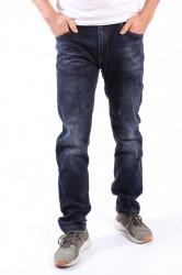 Pánske elastické rifľové nohavice s opaskom M.SARA (KB2198) - tmavomodré