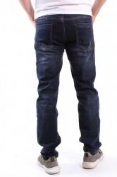 Pánske elastické rifľové nohavice s opaskom M.SARA (KB2198) - tmavomodré #1