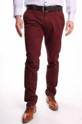 Pánske elastické športovo-elegantné nohavice M.SARA (KA1778-82) - bordové
