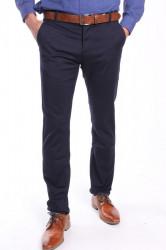 Pánske elastické športovo-elegantné nohavice M.SARA (KA682-68A) - tmavomodré