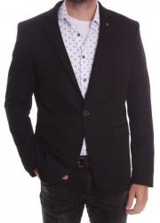 Pánske elastické športovo-elegantné sako SLIM FIT (3358) - čierne #1