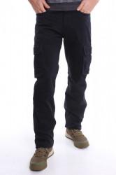 Pánske elastické zateplené nohavice s vreckami DOCKHOUSE (D10189-5) - tmavomodré
