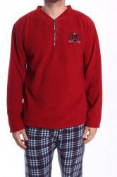 Pánske flísové pyžamo - bordové