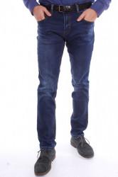 Pánske mierne zateplené rifľové nohavice M.SARA (KA780) - modré