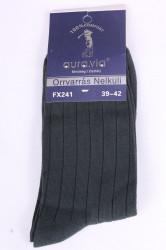 Pánske ponožky bavlnené vrúbkované (FX241) - sivo-zelené (39-42)