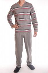 Pánske pyžamo s trojfarebnými pásikmi (F1111-2) - sivo-zelené