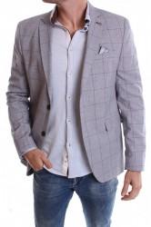 Pánske športovo-elegantné sako kockované VZOR 3378 - bledosivé