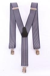 Pánske traky (3,5 cm) - pásikavé - bielo-tmavomodré