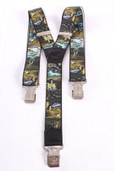 Pánske traky - rybárske 2. - zelené (š. 3,5 cm)