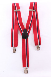 Pánske traky s dvojitým pásikom  (3,5 cm) - červené