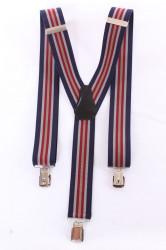 Pánske traky s viacerými pásikmi  (3,5 cm) - bordovo-tmavomodré