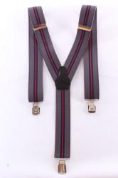 Pánske traky s viacerými pásikmi  (3,5 cm) - červeno-sivé