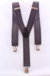 Pánske traky s viacerými pásikmi  (3,5 cm) - čierno-sivé