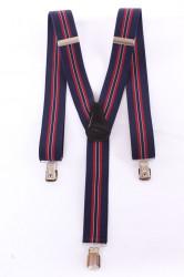 Pánske traky s viacerými pásikmi  (3,5 cm) - tmavomodro-bordové