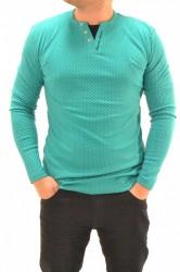 Pánske úpletové tričko s légou - zelené P1