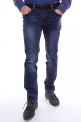 Pánske zateplené elastické rifľové nohavice M.SARA /KA785) - modré