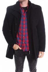 Pánsky flaušový kabát - čierny