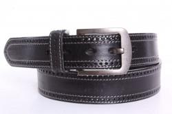 Pánsky kožený opasok s dierkami NHZ-055  - čierny (š. 3,8 cm)