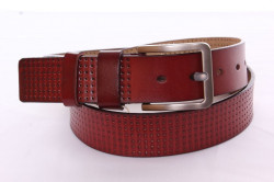 Pánsky kožený opasok VZOR 1. - červeno-hnedý (š. 3,5 cm) PD-4054