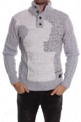 Pánsky pletený pulóver na gombíky (5880) melírovaný