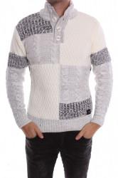 Pánsky pletený pulóver na zapínanie 2. (5871) melírovaný