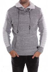 Pánsky pletený pulóver so zipsom (5817) melírovaný