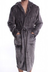 Pánsky župan s kapucňou (AM7778) - sivý P478