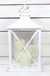 Plastový lampáš s LED sviečkami - biely (v. 39 cm)