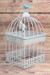 Plechová klietka s tyrkysovým vtáčikom (v. 28 cm)