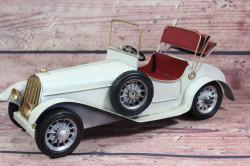 Plechové auto - biele (30x12,5 cm)