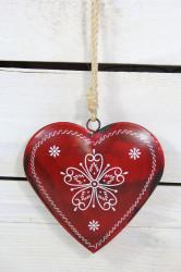 Plechové srdce - červené s motívom (v. 12 cm)