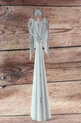 Plechový anjel so srdiečkom - biely ( v. 40 cm)