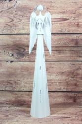 Plechový anjel so srdiečkom (v. 55 cm) - biely