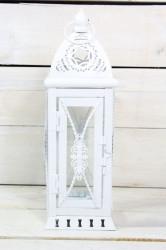Plechový lampáš - biely (v. 29 cm)