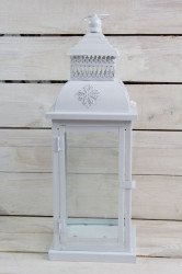 Plechový lampáš - biely (v. 44 cm) 4.