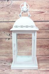 Plechový lampáš - biely VZOR 2. (v. 43,5 cm)