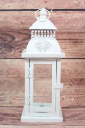 Plechový lampáš - biely VZOR 4. (v. 29,5 cm)