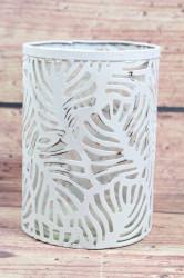 Plechový svietnik so sklom - biely (v. 15 cm, p. 10,5 cm)
