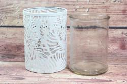 Plechový svietnik so sklom - biely (v. 15 cm, p. 10,5 cm) #1