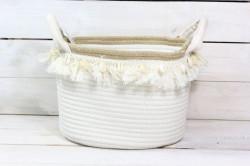 Pletený košík - maslový s úchytkou (v. 21,5 cm, š. 28 cm)