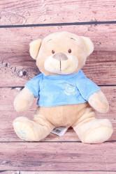 Plyšová hračka MACÍK v modrom tričku - hnedá (v. 28 cm)